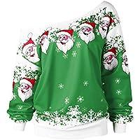 LILICAT☃ Moda Mujer Feliz Navidad Papá Noel Estampado con Cuello Redondo Sudadera Blusa Cuello Diagonal Sudadera con Estampado Superior (Rojo, Negro, Verde)