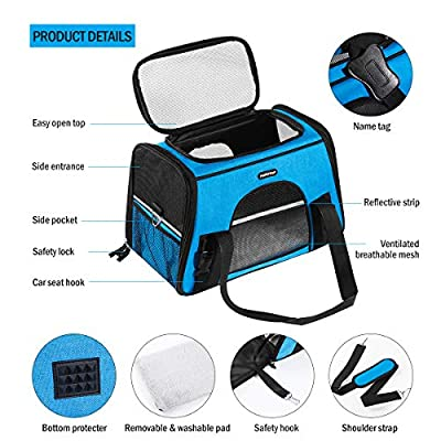 POPETPOP [UPGRADE] Pet Travel Carrier Breathable Portable Soft-Sided Pets Carrier Bag with Seat Pad for Dogs and Cats (Blue) from POPETPOP