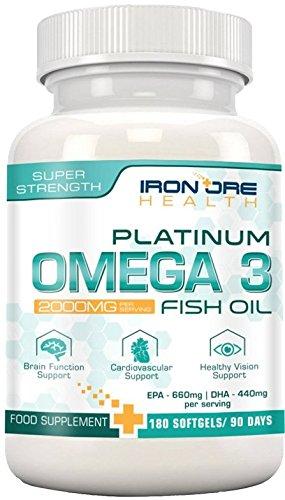 Iron Ore Health - Huile de poisson - 180 capsules de 2000 mg - 660 EPA + 440 DHA par prise