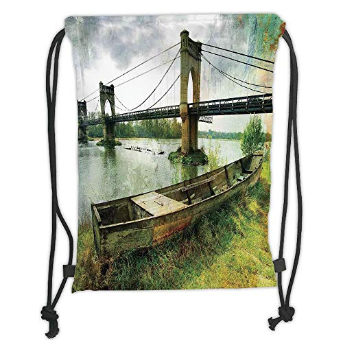 LULUZXOA Gym Bag Printed Drawstring Sack Backpacks Bags,Landscape,Bridge and Old Boat on Riverside Distressed Paint Style Nostalgic City Picture,Green Grey Soft Satin,