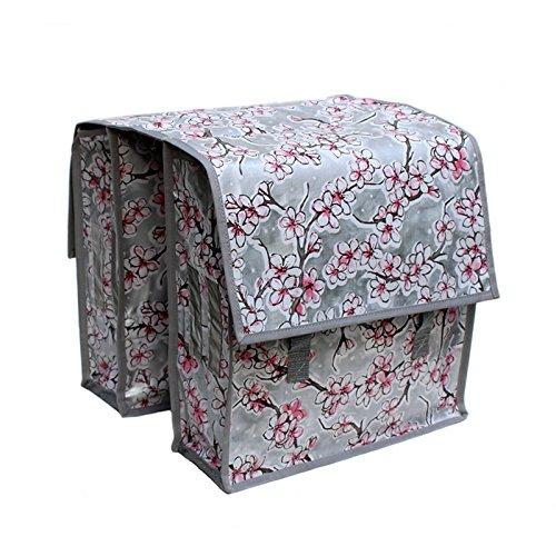 Fahrradtasche für Gepäckträger - Satteltasche - Packtasche aus Wachstuch, für Damen, wasserdicht, Modell Hanami silber