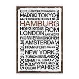TypeStoff Holzschild mit Spruch – Hamburg – im Vintage-Look mit Zitat als Geschenk und Dekoration (Größe: 19,5 x 28,2 cm)