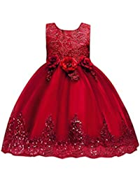 UOMOGO® Abito Bambina Principessa Vestito da Cerimonia per la Damigella  Bowknot Floreale Abiti per la 0a49aa60ae5