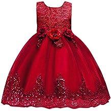 UOMOGO® Abito Bambina Principessa Vestito da Cerimonia per la Damigella  Bowknot Floreale Abiti per la 94fbfa8e285