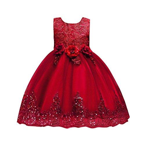 Uomogo abito bambina principessa vestito da cerimonia per la damigella bowknot floreale abiti per la matrimonio carnevale natale regalo (età: 8 anni, rosso)