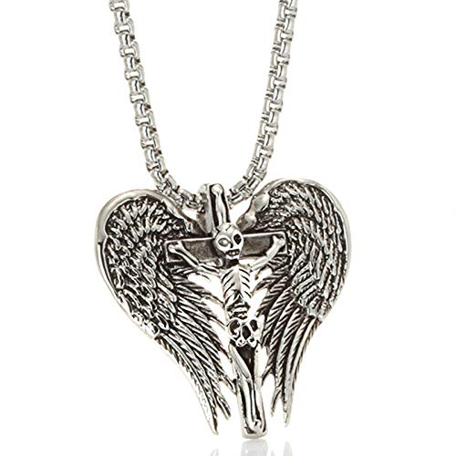 Beydodo Hip Hop Edelstahl Herren Kette mit Anhänger Totenkopf Kreuz Flügel Halskette Silber für Männer Partnerkette