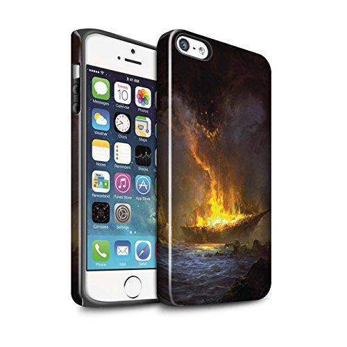 Offiziell Chris Cold Hülle / Glanz Harten Stoßfest Case für Apple iPhone SE / Dragonfel Tempel Muster / Gefallene Erde Kollektion Schiffswrack
