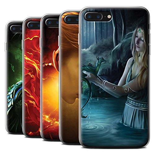 Officiel Elena Dudina Coque / Etui Gel TPU pour Apple iPhone 7 Plus / Pack 5pcs Design / Dragon Reptile Collection Pack 5pcs