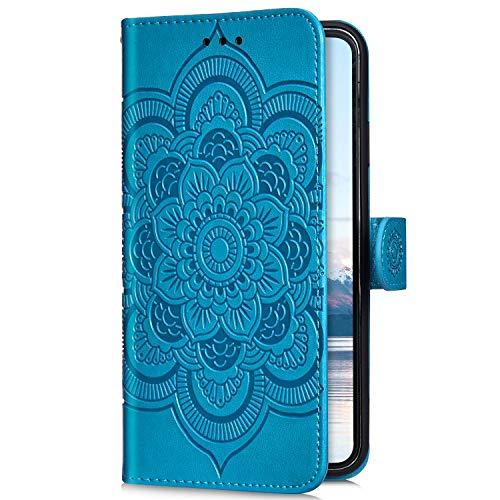 Uposao Kompatibel mit Samsung Galaxy A8 2018 Handyhülle Mandala Blumen Muster Handy Schutzhülle Ledertasche Flip Case Handytasche Wallet Hülle Bookstyle Klappbar Lederhülle Magnetisch,Blau