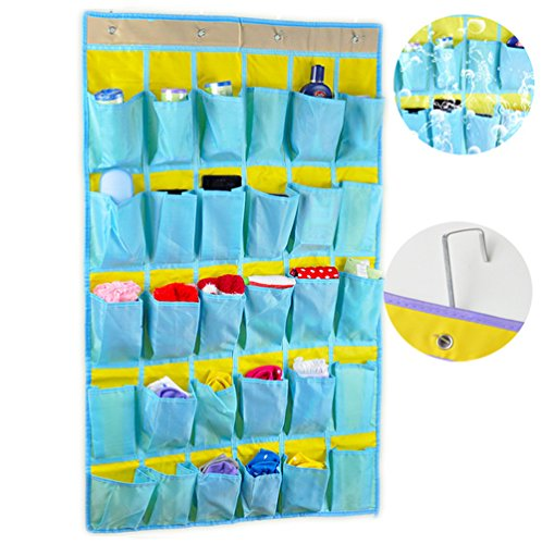 FakeFace Oxford Gewebe 30 Taschen Hängeorganizer Aufbewahrungstasche Hängetasche Hängeregal Handytasche für Tür Wand Klassenzimmer Wohnheim (Lake Blue)