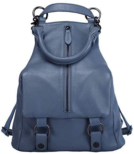 BOYATU Echtes Leder Rucksack für Frauen Geldbörse Damen Daypacks Schultertasche (Blau)