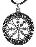 Viking Boussole Pendentif en argent sterling 925avec ruban en coton