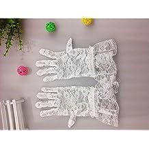 YYGIFT® de la mujer floral corto guantes de encaje de tul vestido de longitud de la muñeca para conducción y boda fiesta sol protección guantes, blanco
