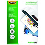 Fellowes 5351205 Pochettes de plastification brillantes Impress 100 microns A3 - Pack de 100 Transparent
