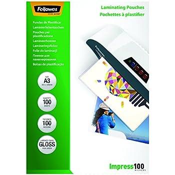 Fellowes 5351205 Pochettes de plastification brillantes Impress 100 microns A3 - Pack de 100 Transparent