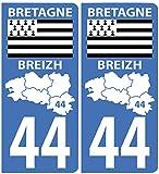 Autocollant plaque immatriculation pour Auto Carte Bretagne département / 44 Loire Atlantique
