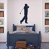 Golf Portrait avant swing Wall Sticker Sport Sticker Art disponible en 5 dimensions et 25 couleurs Moyen Vert mousse