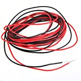 SODIAL (R) 2 Cables electricos 3m silicona flexible 1.6mm No.22 Rojo Negro