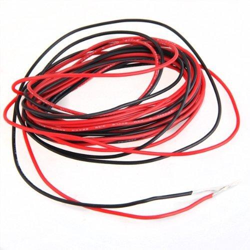 SODIAL(R) 2 Cavi Fili Elettrici 3mt 1.6mm No.22 Rosso Nero Flessibile in Silicone