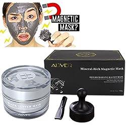 Magnetic Face Mask,ROMANTIC BEAR Masque minéral-riche d'aimant minéral-riche nettoyant de pores avec l'aimant Le nettoyage de pore enlève les impuretés de peau (A)