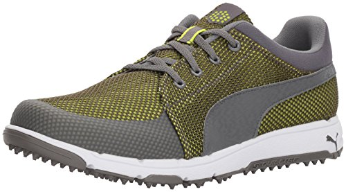 PUMA - Scarpe da Golf Uomo, Verde (Quiet Shade/Acid Lime), 42 EU