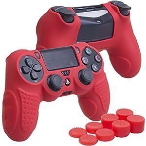 YoRHa Perfekter Griff Kein Geruch Silikon Hülle Abdeckungs Haut Kasten für Sony PS4/slim/Pro Controller x 1 (rot) Mit Pro aufsätze thumb grips x 8