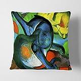 BIG Box Art Franz Marc Zwei Katzen Stein, die Polster Überwurf Kissen, Mehrfarbig, 43x 43cm