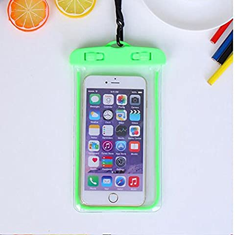 For Imperméable Phone Case,Maetek PVC Lumineux Case Cover Imperméable Cell Phone Sac à sac sec for Smartphone up to 6 inches-Green