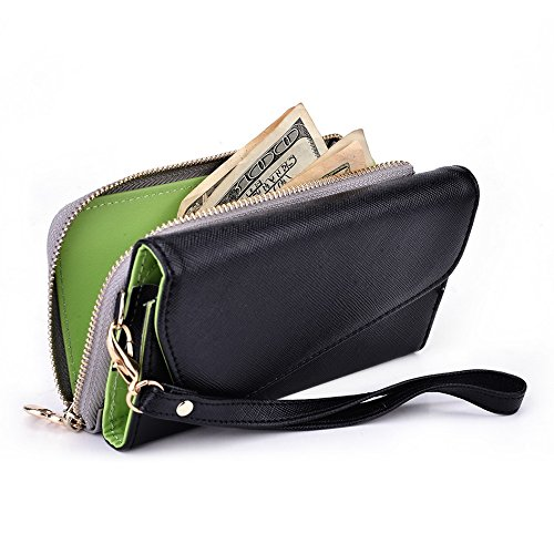 Kroo d'embrayage portefeuille avec dragonne et sangle bandoulière pour Smartphone Nokia 220 Black and Green Noir/gris