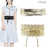 Jurxy 2 Paquetes Bowknot De Las Mujeres Cinturón Ancho de Encaje con cinturón Cinturón de Lazo para Mujer Cuero sintético Estilo OBI Cinturones Boho Corset - Oro