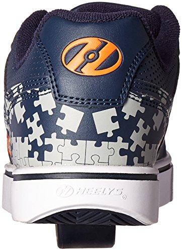 Heelys Motion Plus, Chaussures de Tennis Garçon Bleu (Navy / Grey / Orange)