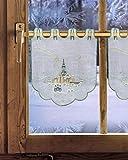 Bestickte Scheibengardine / Scheibenhänger SEIFFENER KIRCHE 47 x 39 cm (HxB) Plauener Spitze Fensterdeko für Weihnachten