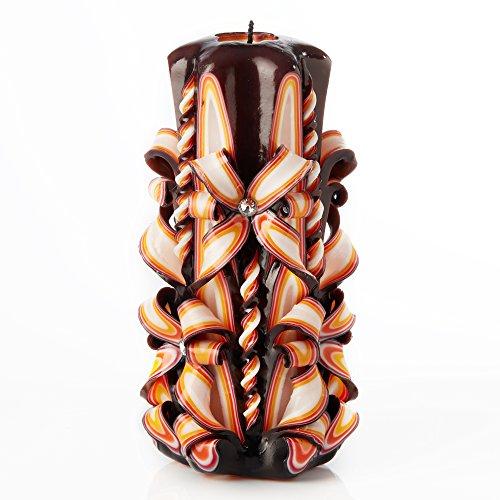 IK Style Große handgeschnitzt Geruchlose Kerze-Perfekt Home Decor Oder Geschenk Kerze für Viele Anlässe-Atemberaubende Creme Farbe mit Dekore 3