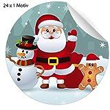 24 klassische Weihnachts Aufkleber mit winkendem Weihnachtsmann Schneemann und Lebkuchen Männchen, rot, MATTE universal Papieraufkleber für Weihnachts Geschenke, Etiketten für Tischdeko, Pakete, Briefe und mehr (ø 45mm