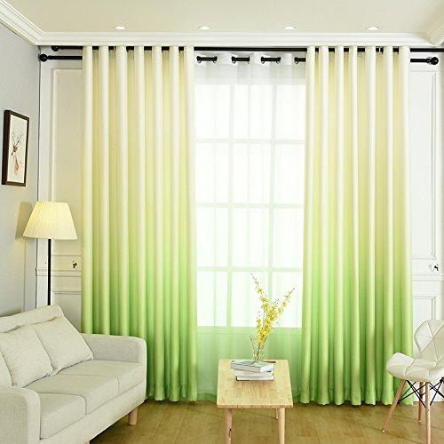 NIBESSER Vorhänge Farbverläufen Blickdicht Gardinen Verdunklungsvorhang Dekorative Gardine mit Ösen für Schlafzimmer kinderzimmer 2 Stück (140B×245H cm, Weiß und Grün)