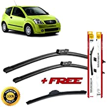Set of 3 flat blade wiper blades for ClTR0EN C2 2003 rear wiper FREE of charge