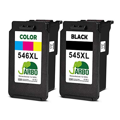 JARBO Remanufactured Cartucce Canon PG-545XL CL-546XL (1 Nero,1 colore) Compatibile con Canon PIXMA MG2550 MG2550S MX495 TS3150 TR4550 iP2850 MG3051 MG3050 MG2950 MG2450 TS205 TS305 TS3151 TR4551