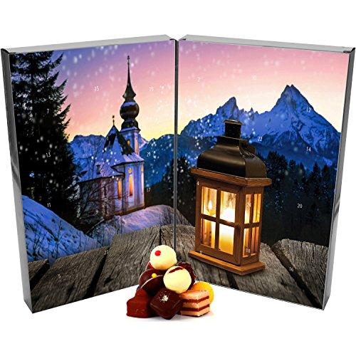 Hallingers 24 Pralinen-Adventskalender, mit/ohne Alkohol (300g) - Bergkirche