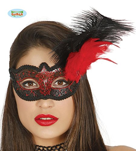 in rot schwarz mit schwarzen Federn Halbmaske Fasching Party (Rote Halbmaske Mit Federn)