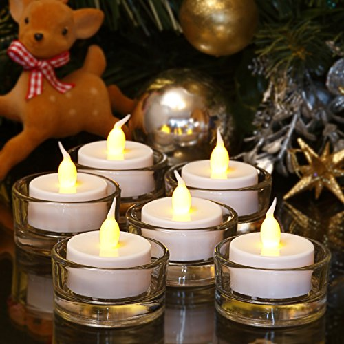 Lumini LED senza fiamma tea light - Candele bianche a batteria con tremolio realistico di fiamma ambrata – Perfette per San Valentino, Halloween, Natale, Compleanni, Anniversario