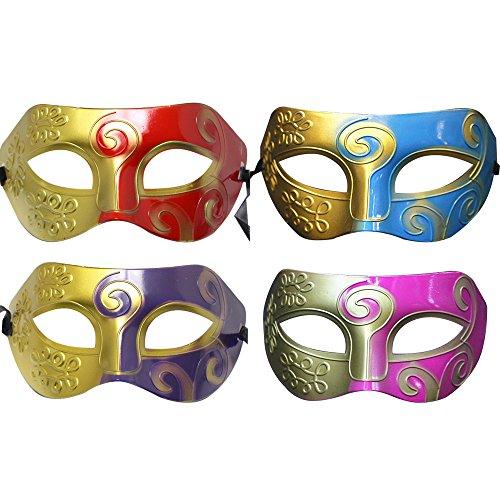 Baanuse 4Pcs Griechische Römische Kämpfer Gesichtsmaske, Männern Masquerade Masken, Karneval Kostüm Fasching Verkleidung, für Ball Maskenball Fancy Dress