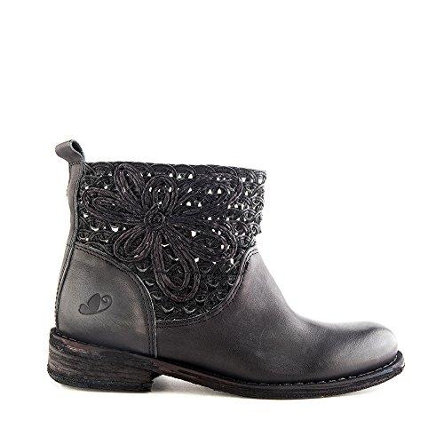 Felmini - Chaussures Femme - Tomber en amour avec Gredo 8346 - Bottines Cowboy & Biker - Cuir Véritable - Noir Noir