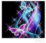 Wallario Herdabdeckplatte / Spritzschutz aus Glas, 2-teilig, 60x52cm, für Ceran- und Induktionsherde, Schmetterlinge in bunten, strahlenden Farben -