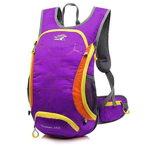 ruifu 15L Unisex Wasserdicht Fahrrad Radfahren Rucksack für Wandern Camping Reise Rucksack Daypack Tasche Violett - violett