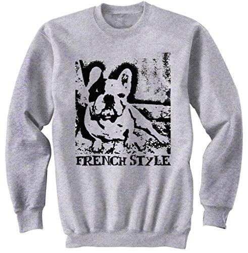 Teesquare1st Men's FRENCH BULLDOG LIFE WITHOUT PB 16 Grey Sweatshirt Size Medium