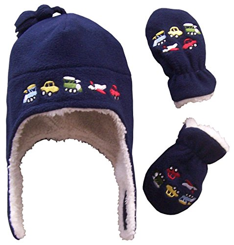f8fdc2f59 N'Ice Caps Boys Sherpa Lined Micro Fleece Embroidered Hat and Mitten ...