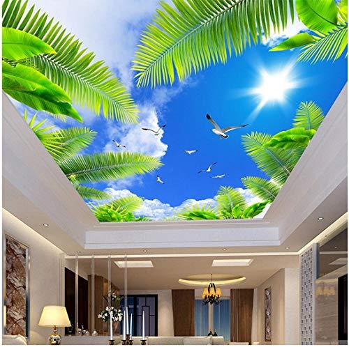 inierte 3D Decke Wandbild Fototapete Wohnzimmer Thema Hotel Decke Wanddekor Blauer Himmel Weiße Wolken Strand Baum Tapeten ()
