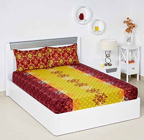 Bombay Dyeing Blumen 104 TC Cotton Double Bedsheet with 2 Pillow Covers - Yellow