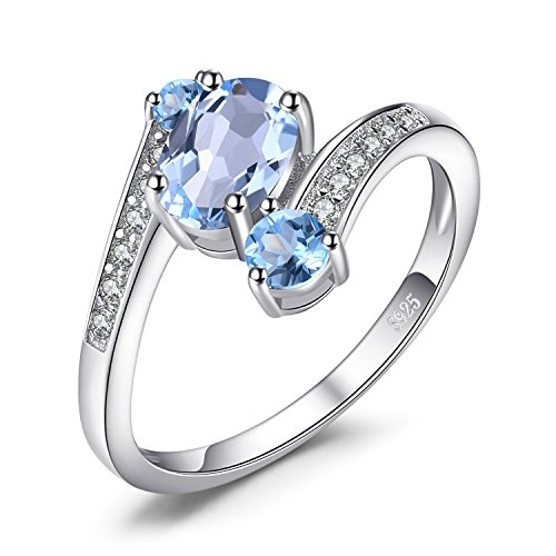 Jewelrypalace 925 Sterling Silber 1.1 ct Natürlichen Blau Topas 3 Stein Jahrestag Ring schmuck ringe