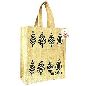 INDOZY Jute Bag for Lunch Tiffin & Gifting   for Men Women Girl boy Kid Office Daily use Handbag   with Zip & 2 Inside Pockets for Spoon/Fork/Tissue/Mobile & Water Bottle (Bg Leaf)